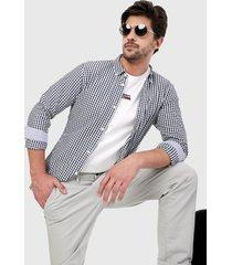camisa blanco-azul navy tommy jeans