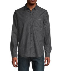 7 for all mankind men's cotton selvedge shirt - grey - size s