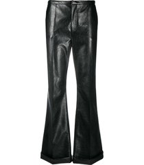 philosophy di lorenzo serafini high-rise coated kick-flare trousers -