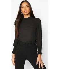 sheered high neck & cuff blouse, black