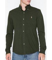 polo ralph lauren featherweight long sleeve knit skjortor olive