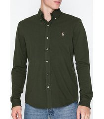 polo ralph lauren featherweight long sleeve knit skjortor olive