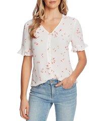 women's cece cascading floret ruffle sleeve crepe blouse, size medium - white