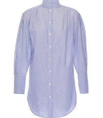 frame women's stand-collar striped shirt - navy multi - size xs