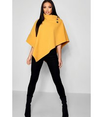 cape with buttons, mustard
