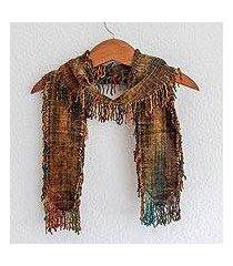 rayon chenille scarf, 'atitlan volcano' (guatemala)