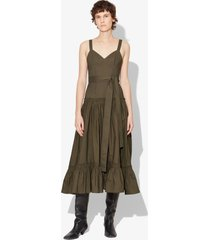 proenza schouler cotton poplin tiered dress military/brown 4