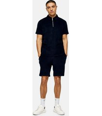 mens navy jersey towelling shorts