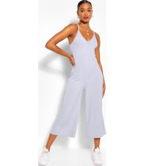 ribbed strappy culotte jumpsuit, grey