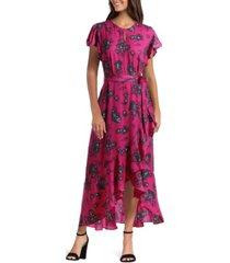 gigi parker women's flutter sleeve wrap dress