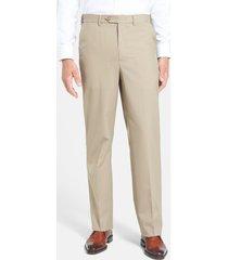 men's berle self sizer waist tropical weight flat front classic fit dress pants, size 36 x 30 - beige