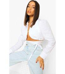 blouse met geplooide buste en strik, ivory