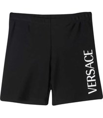 young versace black shorts with white logo