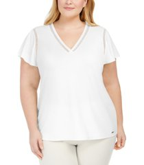 calvin klein plus size flutter-sleeve blouse