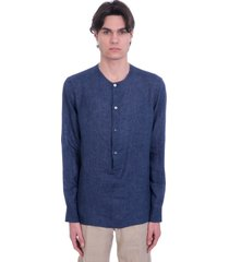 ermenegildo zegna shirt in blue linen