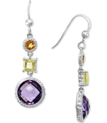 effy multi-gemstone drop earrings (8-1/2 ct. t.w.) in sterling silver
