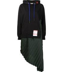 maison mihara yasuhiro longline deconstructed hoodie - black