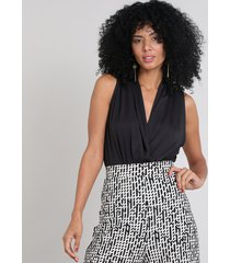 body feminino blusê sem manga preto