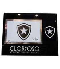 porta retrato minas de presentes de vidro 1 foto 10x15cm - botafogo preto