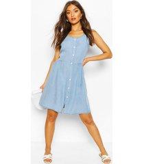 chambray button front skater dress, light blue