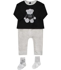 givenchy black, grey and white babykids suit with bear