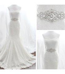 white ribbon  wedding dress rhinestone vintage beaded crystal sash bride belt