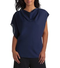 women's asymmetric flutter sleeve blouse