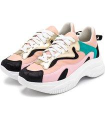 tãªnis sneakers chuncky em napa rosa bebe jade e dourado e preto - dourado//preto/rosa/verde - feminino - dafiti