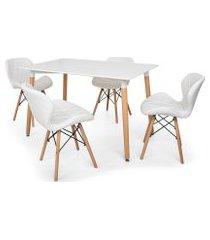 kit mesa jantar eiffel 120x80 branca + 04 cadeiras slim - branca