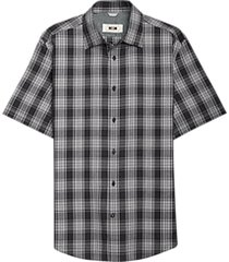 joseph abboud black & gray plaid short sleeve sport shirt