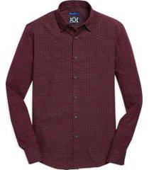 joe joseph abboud burgundy dot woven & knit slim fit sport shirt