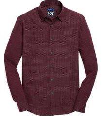 joe joseph abboud burgundy dot woven & knit sport shirt