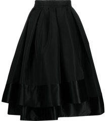 alexander mcqueen layered midi skirt - black