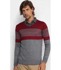 suéter tricô watkins & krown listrado gola v masculino