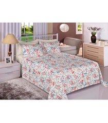 jogo de cama 180 fios casal percal 100% algodão dupla inserção florence - tessi