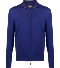 n.peal fine knit zipped sweatshirt - blue