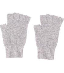 pringle of scotland fingerless fine knit gloves - grey
