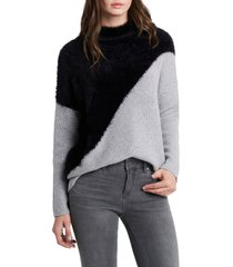 women's vince camuto diagonal colorblock mix stitch sweater, size medium - grey