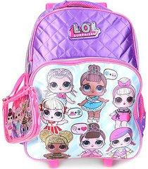 mochila escolar infantil luxcel lol com rodinha feminino