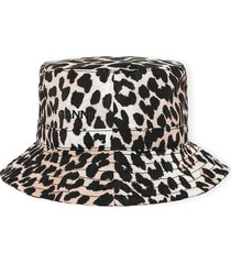 women's ganni recycled polyester bucket hat, size x-small/small - brown