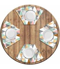 jogo americano para mesa redonda wevans multi triângulos marble kit com 4 pçs love decor