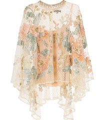 biyan floral-embroidered tulle poncho - yellow