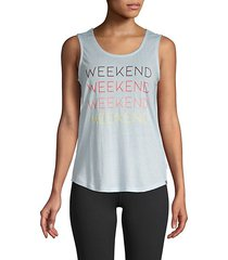 weekend graphic tank top