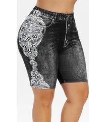 plus size tribal print faux denim shorts