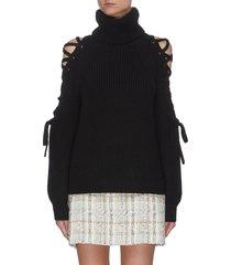 izetta' lace-up open shoulder turtleneck sweater