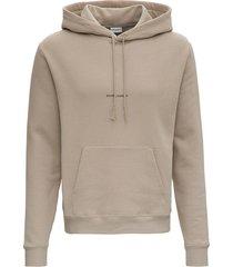 saint laurent beige jersey hoodie with logo print