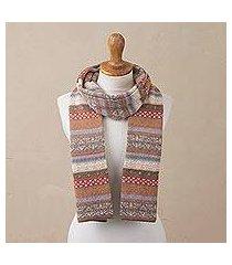 100% alpaca scarf, 'inca earth' (peru)