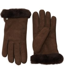 ugg women's shearling & sheepskin gloves - stormy grey - size m