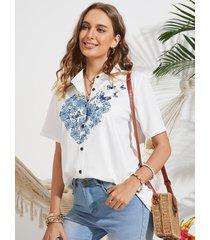 camicetta con bottoni a maniche corte con colletto alla coreana stampa farfalle floreali per donna