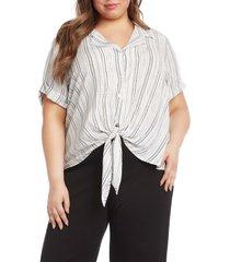 plus size women's karen kane roll sleeve tie front stripe top, size 3x - ivory